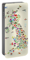 Animal Map Of Great Britain For Children And Kids Portable Battery Charger
