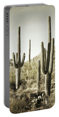 Portable Battery Charger featuring the photograph Arizona Cactus Pair Desert by Andrea Hazel Ihlefeld