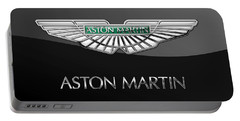 Aston Martin 3 D Badge On Black  Portable Battery Charger