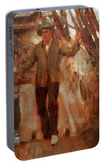 Portable Battery Charger featuring the painting At The Break Of The Poop  by Henry Scott Tuke