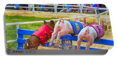 Portable Battery Charger featuring the photograph At The Pig Races by AJ Schibig