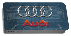 Audi 3 D Badge Over 2016 Audi R 8 Blueprint Portable Battery Charger
