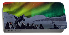 Portable Battery Charger featuring the digital art Aurora Borealis by Methune Hively