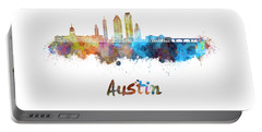 Austin Skyline In Watercolor Portable Battery Charger