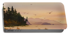 Portable Battery Charger featuring the painting Autumn Shore by James Williamson