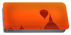 Portable Battery Charger featuring the photograph Bagan Pagodas And Hot Air Balloon by Pradeep Raja Prints