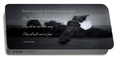 Bald Eagle In Flight With Bible Verse Portable Battery Charger
