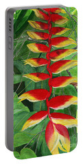 Portable Battery Charger featuring the painting Balinese Heliconia Rostrata by Melly Terpening