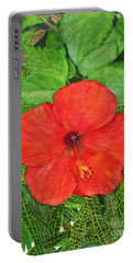 Portable Battery Charger featuring the painting Balinese Hibiscus Rosa by Melly Terpening