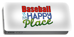 Baseball Is My Happy Place Portable Battery Charger by Shelley Overton