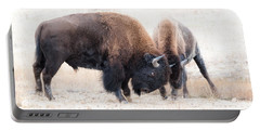 Battle Of The Bison In Rut Portable Battery Charger