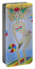 Portable Battery Charger featuring the painting Beach Ball Surfer by Marie Schwarzer