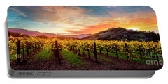 Morning Sun Over The Vineyard Portable Battery Charger