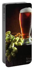Beer And Hops On Barrel Portable Battery Charger