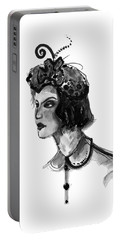 Portable Battery Charger featuring the mixed media Black And White Watercolor Fashion Illustration by Marian Voicu