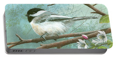 Black Cap Chickadee Portable Battery Charger by Mike Brown