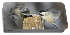 Portable Battery Charger featuring the photograph Black-capped Chickadee In Winter by Mircea Costina Photography