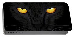 Portable Battery Charger featuring the painting Superstitious Cat by Anastasiya Malakhova