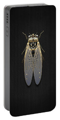 Black Cicada With Gold Accents On Black Canvas Portable Battery Charger