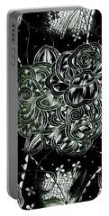 Black Flower Portable Battery Charger