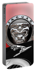 Black Jaguar - Hood Ornaments And 3 D Badge On Red Portable Battery Charger