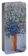Blue Floral Portable Battery Charger