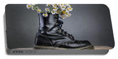 Boots With Daisy Flowers Portable Battery Charger