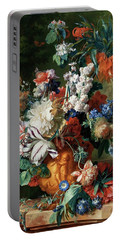 Portable Battery Charger featuring the painting Bouquet Of Flowers In An Urn by Jan van Huysum