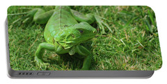Bright Green Iguana In Grass Portable Battery Charger by DejaVu Designs
