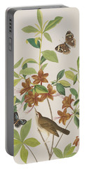 Brown Headed Worm Eating Warbler Portable Battery Charger by John James Audubon