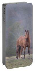 Brown Horse In Fog Portable Battery Charger