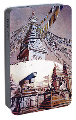 Portable Battery Charger featuring the painting Buddhist Stupa- Nepal by Ryan Fox