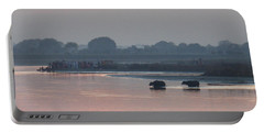 Portable Battery Charger featuring the photograph Buffalos Crossing The Yamuna River by Jean luc Comperat