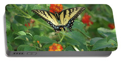 Butterfly And Flower Portable Battery Charger by Debra Crank