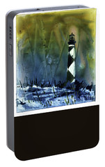 Portable Battery Charger featuring the mixed media Cape Lookout Lighthouse by Ryan Fox