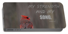 Cardinal In The Snowstorm With Scripture Portable Battery Charger