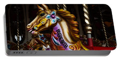 Portable Battery Charger featuring the photograph Carousel Horses by Steve Purnell