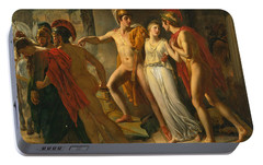 Portable Battery Charger featuring the painting Castor And Pollux Rescuing Helen by Jean-Bruno Gassies