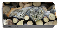 Portable Battery Charger featuring the photograph Cat Resting On A Heap Of Logs by Michal Boubin