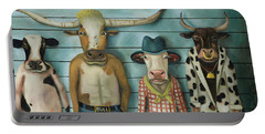 Cattle Line Up Portable Battery Charger by Leah Saulnier The Painting Maniac