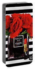 Chanel Perfume With Red Roses Portable Battery Charger