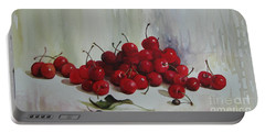 Portable Battery Charger featuring the painting Cherries by Elena Oleniuc