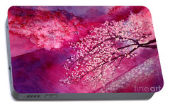 Portable Battery Charger featuring the painting Cherry Blossoms by Hailey E Herrera