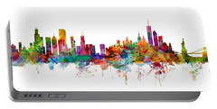 Chicago And New York City Skylines Mashup Portable Battery Charger