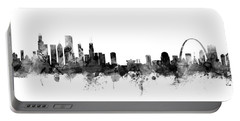 Chicago And St Louis Skyline Mashup Portable Battery Charger by Michael Tompsett