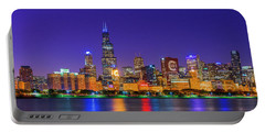 Chicago Skyline With Cubs World Series Lights Night, Lake Michigan, Chicago, Cook County, Illinois Portable Battery Charger