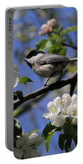 Chickadee Among The Blossoms Portable Battery Charger