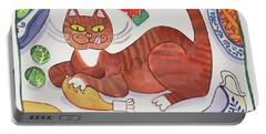 Christmas Cat And The Turkey Portable Battery Charger