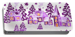 Christmas Picture In Raspberry Pink Colours Portable Battery Charger