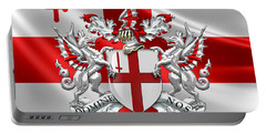 City Of London - Coat Of Arms Over Flag  Portable Battery Charger